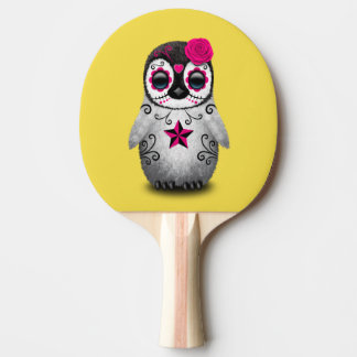 Pink Day of the Dead Baby Penguin Ping Pong Paddle