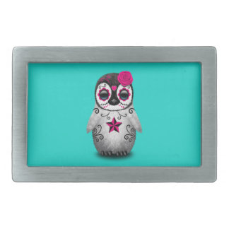 Pink Day of the Dead Baby Penguin Rectangular Belt Buckle