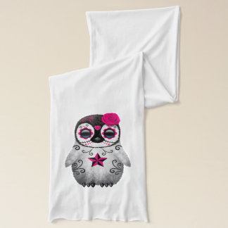 Pink Day of the Dead Baby Penguin Scarf