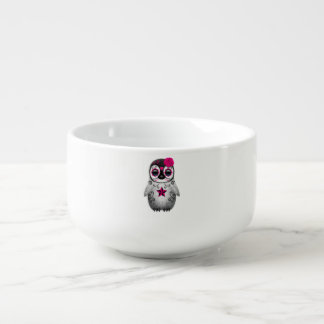 Pink Day of the Dead Baby Penguin Soup Bowl With Handle