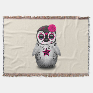 Pink Day of the Dead Baby Penguin Throw Blanket