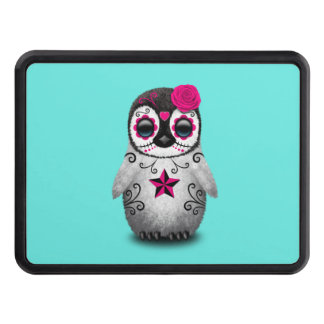 Pink Day of the Dead Baby Penguin Trailer Hitch Cover