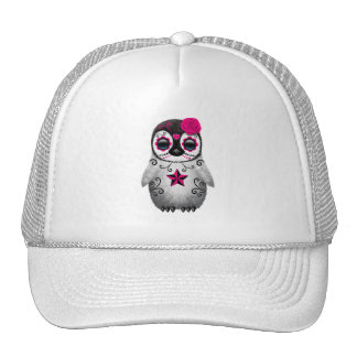 Pink Day of the Dead Baby Penguin Trucker Hat