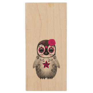 Pink Day of the Dead Baby Penguin Wood USB Flash Drive