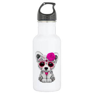 Pink Day of the Dead Baby Polar Bear 532 Ml Water Bottle