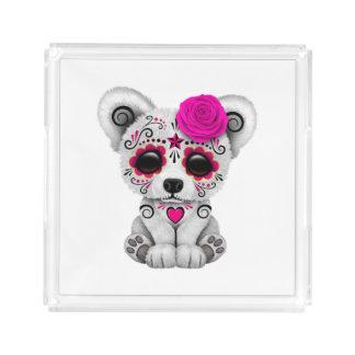 Pink Day of the Dead Baby Polar Bear Acrylic Tray