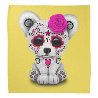 Pink Day of the Dead Baby Polar Bear Bandana