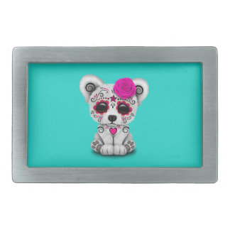 Pink Day of the Dead Baby Polar Bear Belt Buckle
