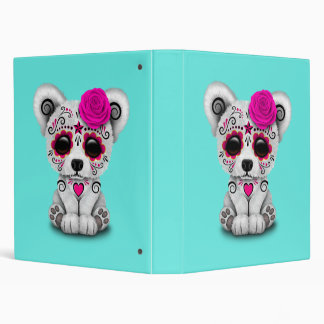 Pink Day of the Dead Baby Polar Bear Binders