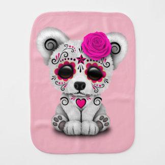 Pink Day of the Dead Baby Polar Bear Burp Cloth