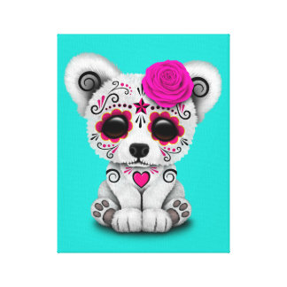 Pink Day of the Dead Baby Polar Bear Canvas Print