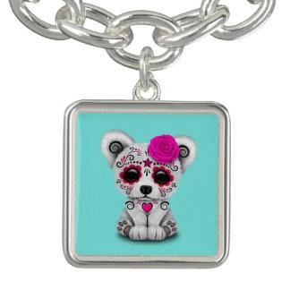 Pink Day of the Dead Baby Polar Bear Charm Bracelet