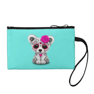 Pink Day of the Dead Baby Polar Bear Coin Purse