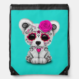 Pink Day of the Dead Baby Polar Bear Drawstring Bag