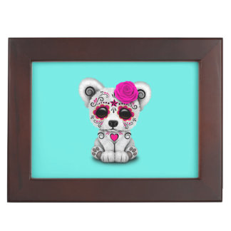 Pink Day of the Dead Baby Polar Bear Keepsake Box