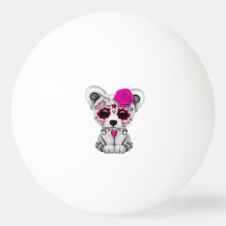 Pink Day of the Dead Baby Polar Bear Ping Pong Ball