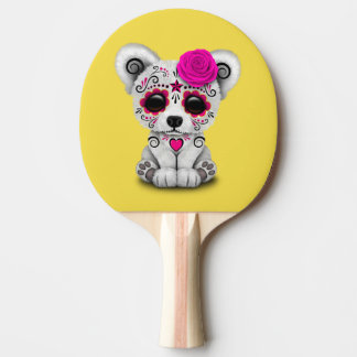 Pink Day of the Dead Baby Polar Bear Ping Pong Paddle