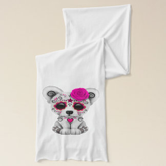 Pink Day of the Dead Baby Polar Bear Scarf