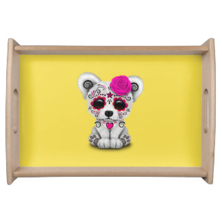 Pink Day of the Dead Baby Polar Bear Serving Tray
