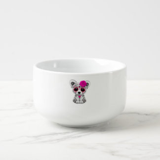 Pink Day of the Dead Baby Polar Bear Soup Bowl With Handle