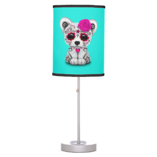 Pink Day of the Dead Baby Polar Bear Table Lamp