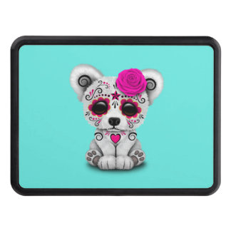 Pink Day of the Dead Baby Polar Bear Trailer Hitch Cover