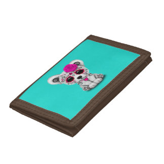 Pink Day of the Dead Baby Polar Bear Trifold Wallet