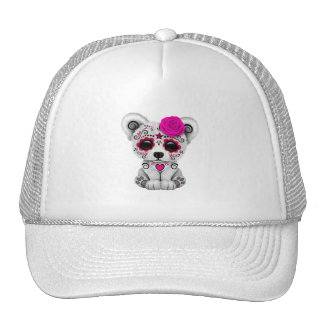 Pink Day of the Dead Baby Polar Bear Trucker Hat