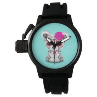 Pink Day of the Dead Baby Polar Bear Watch