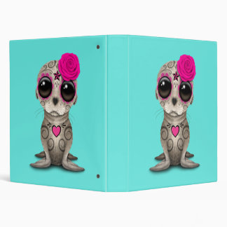 Pink Day of the Dead Baby Sea Lion 3 Ring Binders
