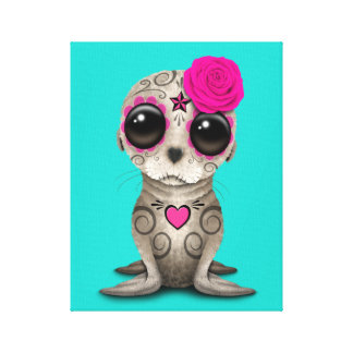 Pink Day of the Dead Baby Sea Lion Canvas Print