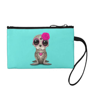 Pink Day of the Dead Baby Sea Lion Coin Purse