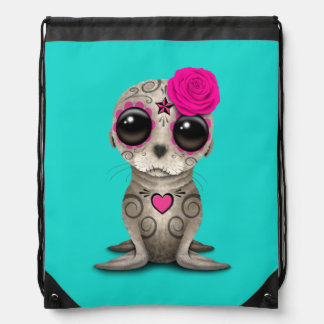 Pink Day of the Dead Baby Sea Lion Drawstring Bag