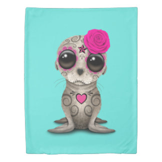 Pink Day of the Dead Baby Sea Lion Duvet Cover