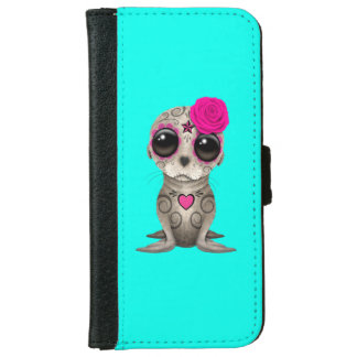 Pink Day of the Dead Baby Sea Lion iPhone 6 Wallet Case