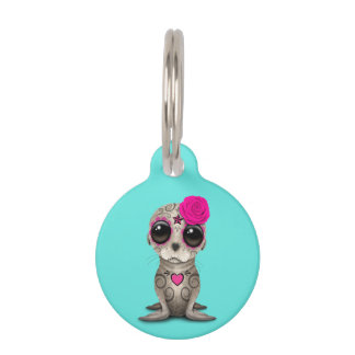 Pink Day of the Dead Baby Sea Lion Pet ID Tag