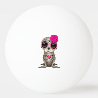 Pink Day of the Dead Baby Sea Lion Ping Pong Ball