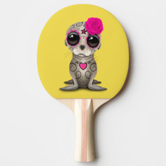 Pink Day of the Dead Baby Sea Lion Ping Pong Paddle