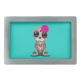 Pink Day of the Dead Baby Sea Lion Rectangular Belt Buckles