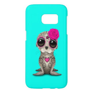 Pink Day of the Dead Baby Sea Lion Samsung Galaxy S7 Case