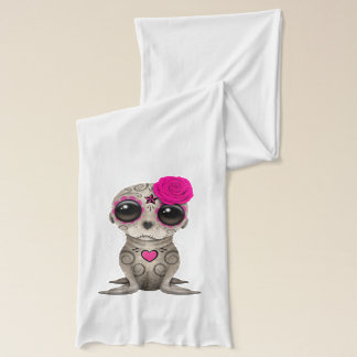 Pink Day of the Dead Baby Sea Lion Scarf