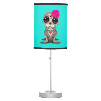 Pink Day of the Dead Baby Sea Lion Table Lamp