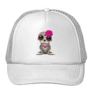 Pink Day of the Dead Baby Sea Lion Trucker Hat