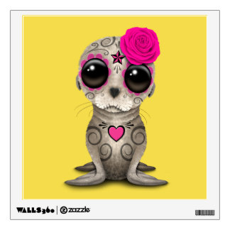 Pink Day of the Dead Baby Sea Lion Wall Sticker