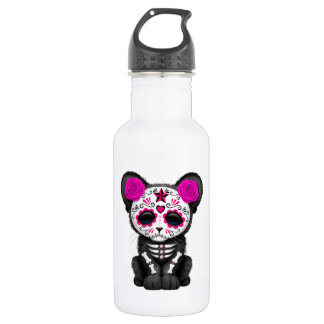 Pink Day of the Dead Black Panther Cub 532 Ml Water Bottle