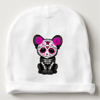 Pink Day of the Dead Black Panther Cub Baby Beanie
