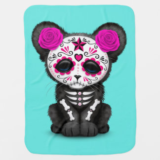 Pink Day of the Dead Black Panther Cub Baby Blanket