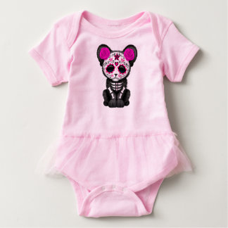 Pink Day of the Dead Black Panther Cub Baby Bodysuit