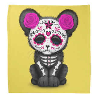 Pink Day of the Dead Black Panther Cub Bandana