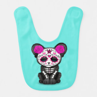 Pink Day of the Dead Black Panther Cub Bib